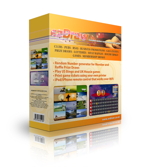 ezdraw raffle, bingo and prize draw software box